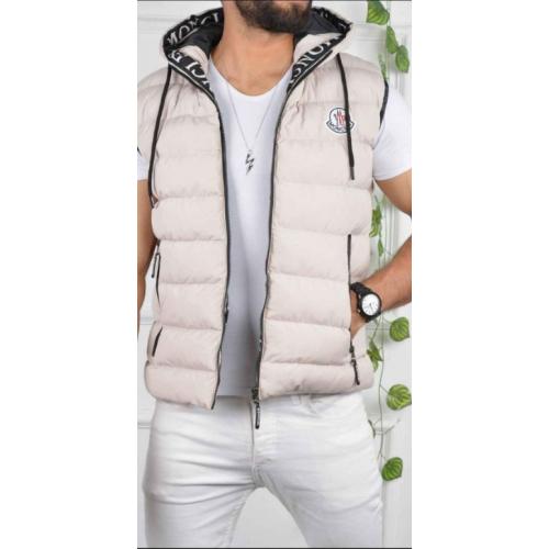 Balta vīriešu stepēta veste ar kapuci
