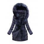 Tumši zila sieviešu jaka ar noņemamu kažokādu